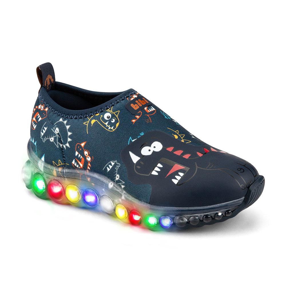 Tênis LED Infantil Masculino Bibi Roller Celebration Dinossauro