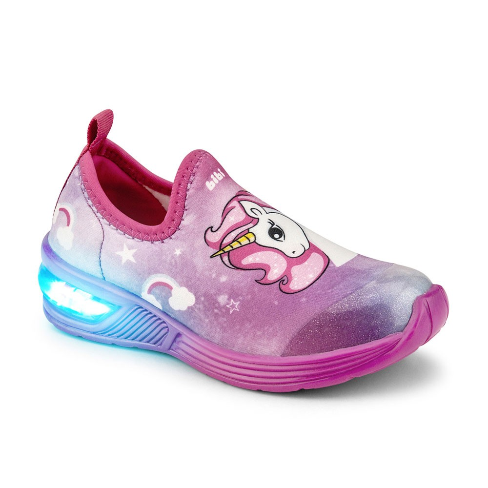 Tênis LED Infantil Feminino Bibi Space Wave 2.0 Unicórnio