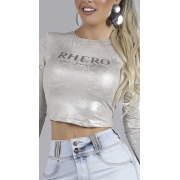 Blusa Feminina Com Manga Print Rhero Jeans