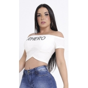 Blusa Cropped off white super Rhero Jeans
