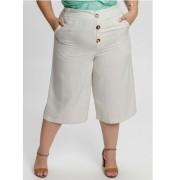 Calça Feminina Pantacourt Com Botôes e Bolsos White Plus Size