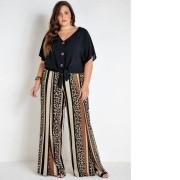 Calça Feminina Pantalona Plus Size Onça e Listras