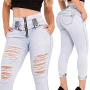 Calça Jeans Feminina Cropped Destroyed Cintura Perfeita Rhero Jeans