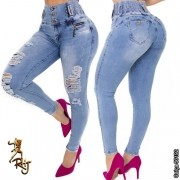 Calça Jeans Feminina Destroyed Com Cintura Compressora Rhero Jeans