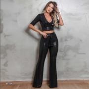Calça Feminina Flare Shine Black Pit Bull Jeans