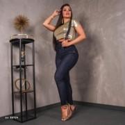 Calça Jeans Feminina Skinny Com Suspensório Pit Bull Jeans