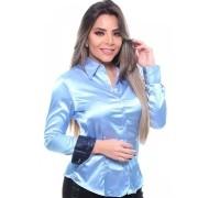 Camisa Feminina De Cetim Manga Longa Cor Azul