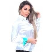 Camisa Feminina De Cetim Manga Longa Cor Branco