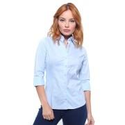 Camisa Feminina  Manga 3/4 Regular Crocker Cor Azul