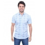 Camisa Masculina Manga Curta Crocker Estampada Azul