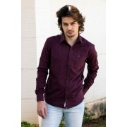 Camisa Masculina Social Micro Estampa Manga Longa