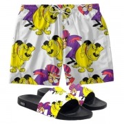 Conjunto Lazer Shorts Em Tactel e chinelo Slide Estampa Mutley