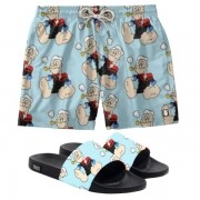 Conjunto Lazer Shorts Em Tactel e chinelo Slide Estampa Popeye