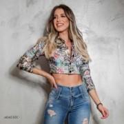 Jaqueta Feminina Cropped Com Brilho Pit Bull Jeans