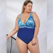 Maiô Azul Bic com Detalhe de Tira Frontal Plus Size