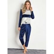 Pijama Feminino Conjunto Calça e Blusa Manga Longa Aveludado