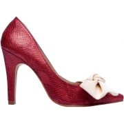 Sapato Scarpin Em Couro Com Laço Napa