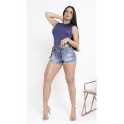 Short Feminino Jeans com Aplicações Rhero Jeans