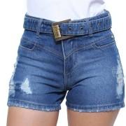 Shorts Jeans Feminino Com Cinto Crocker Jeans Escuro