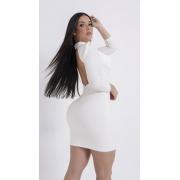 Vestido branco com mangas, decote gota Rhero Jeans