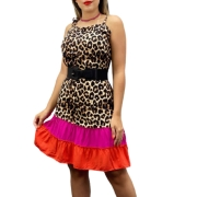Vestido colors de alça estampa animal print