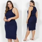 Vestido Midi Marinho com Fendas Plus Size