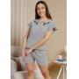 Pijama Feminino Conjunto Curto com Blusa e Shorts Com Bordado
