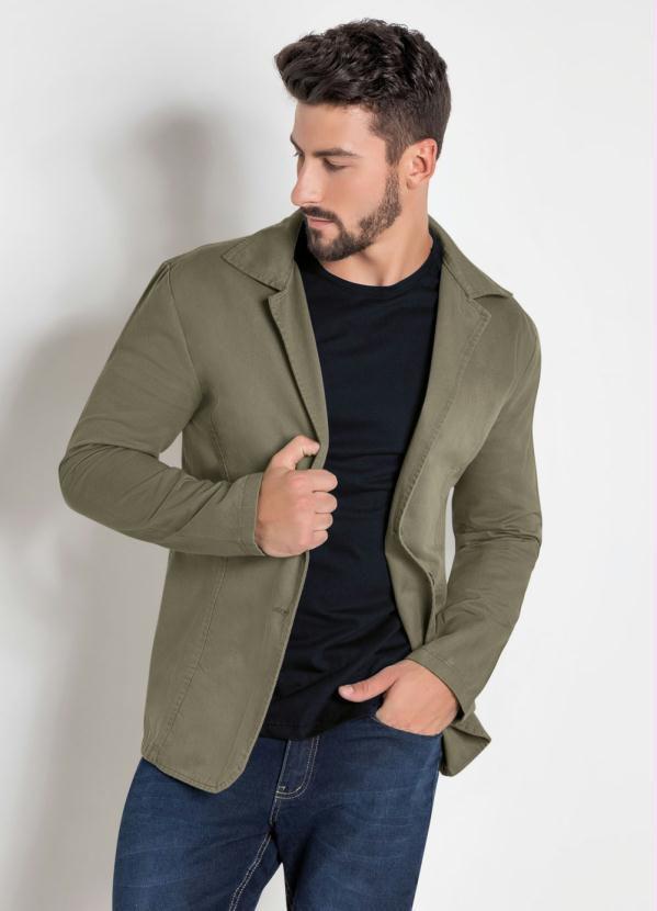 Blazer Masculino Em Sarja Cor Verde Militar Fechamento Em botões