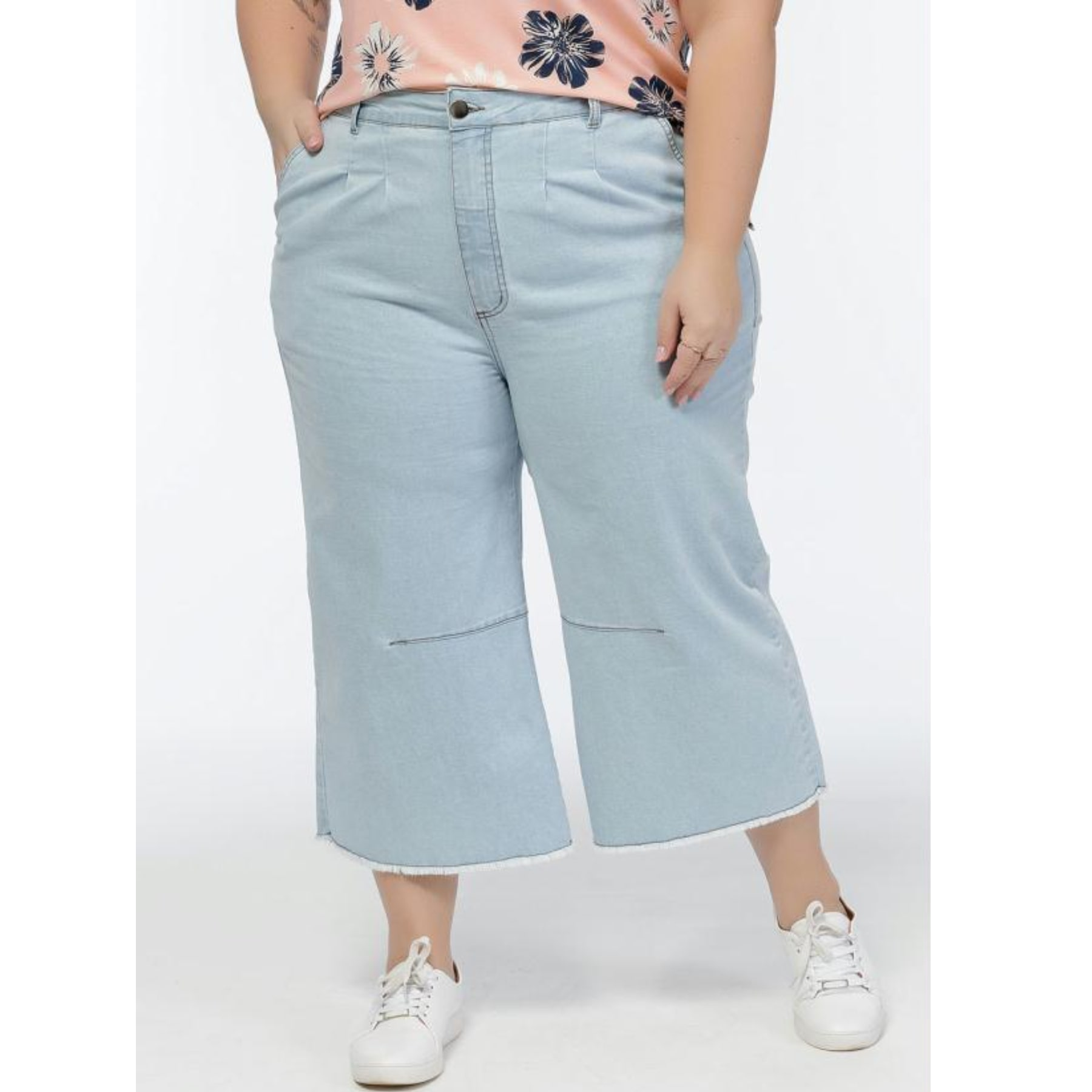 Calça Feminina  Jeans Azul Claro Cintura Alta Plus Size