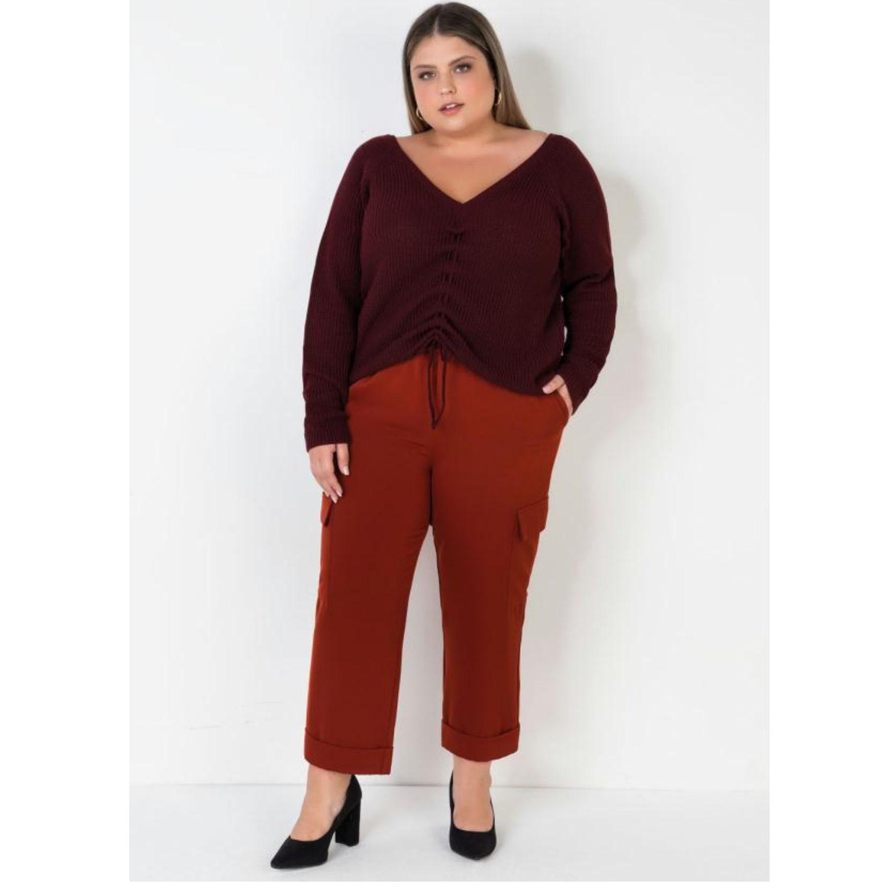 Calça Feminino Plus Size com Cinto Marrom