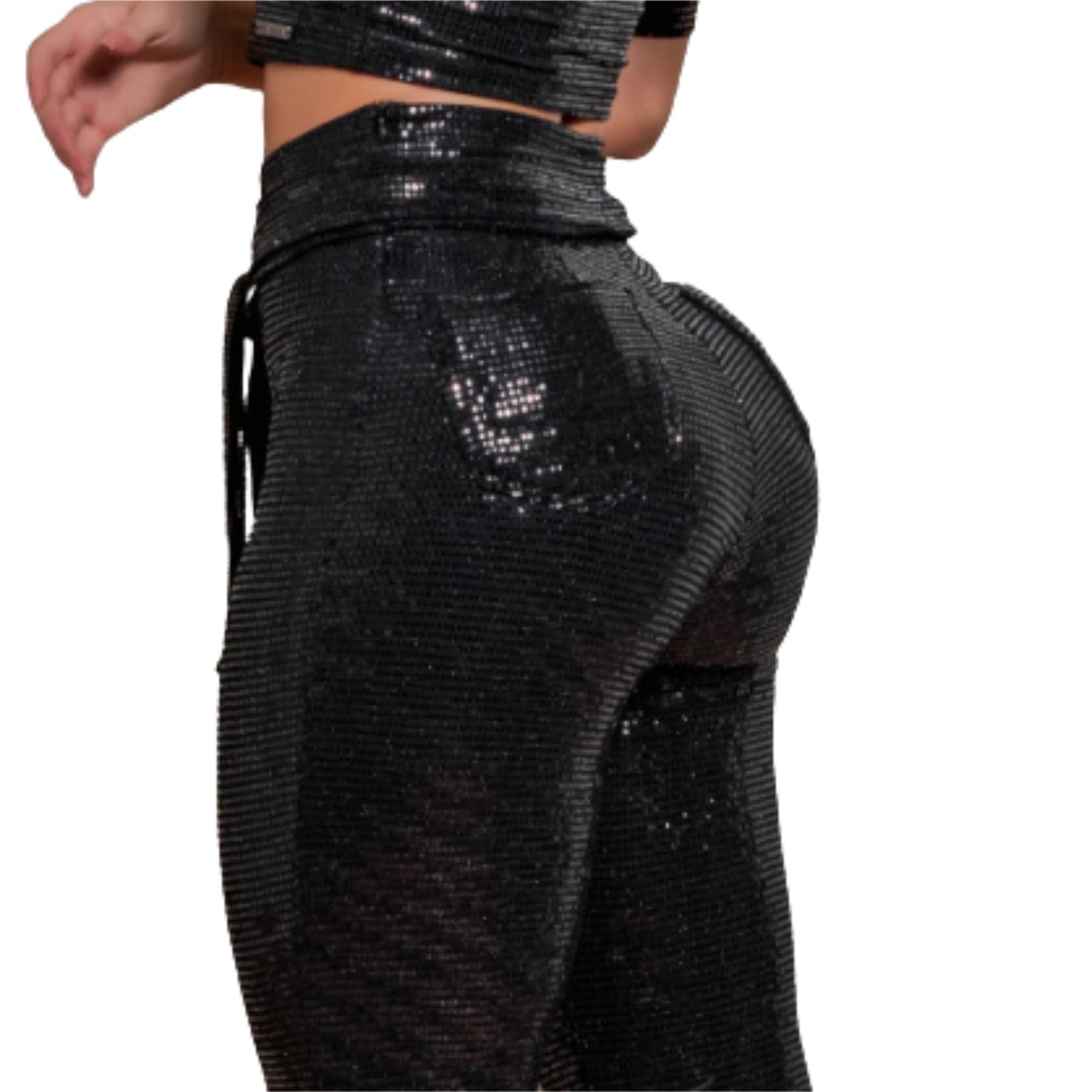 Calça Flare Cintura Perfeita Shine Black Pit Bull Jeans