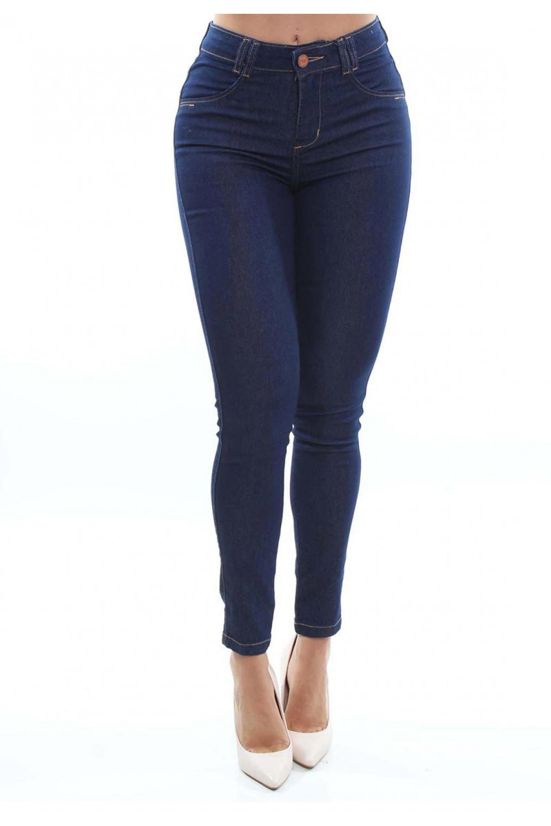 Calça Jeans Feminina Cigarrete Cor Jeans Escuro