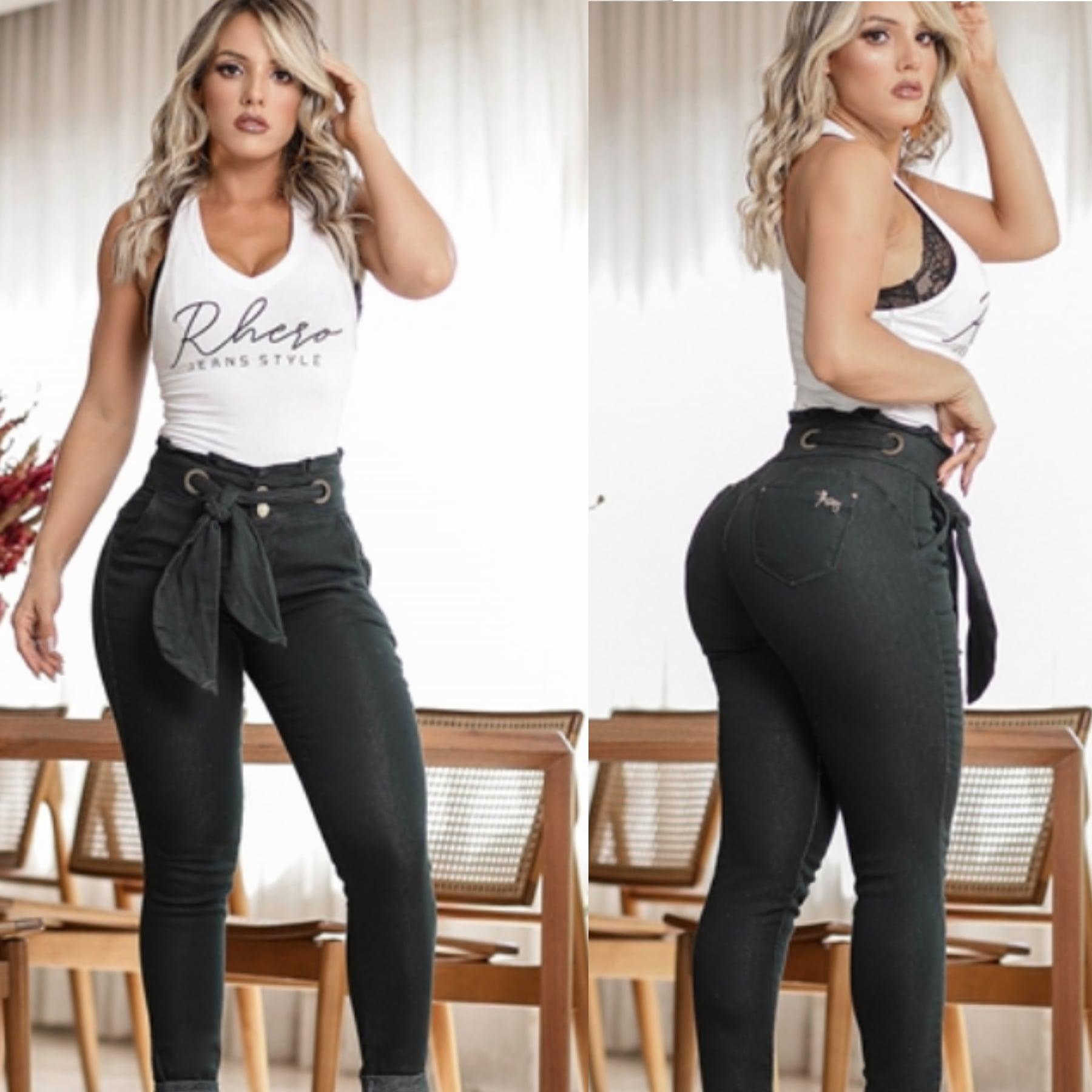 Calça Jeans Feminina Collor Com Cinto Rhero Jeans