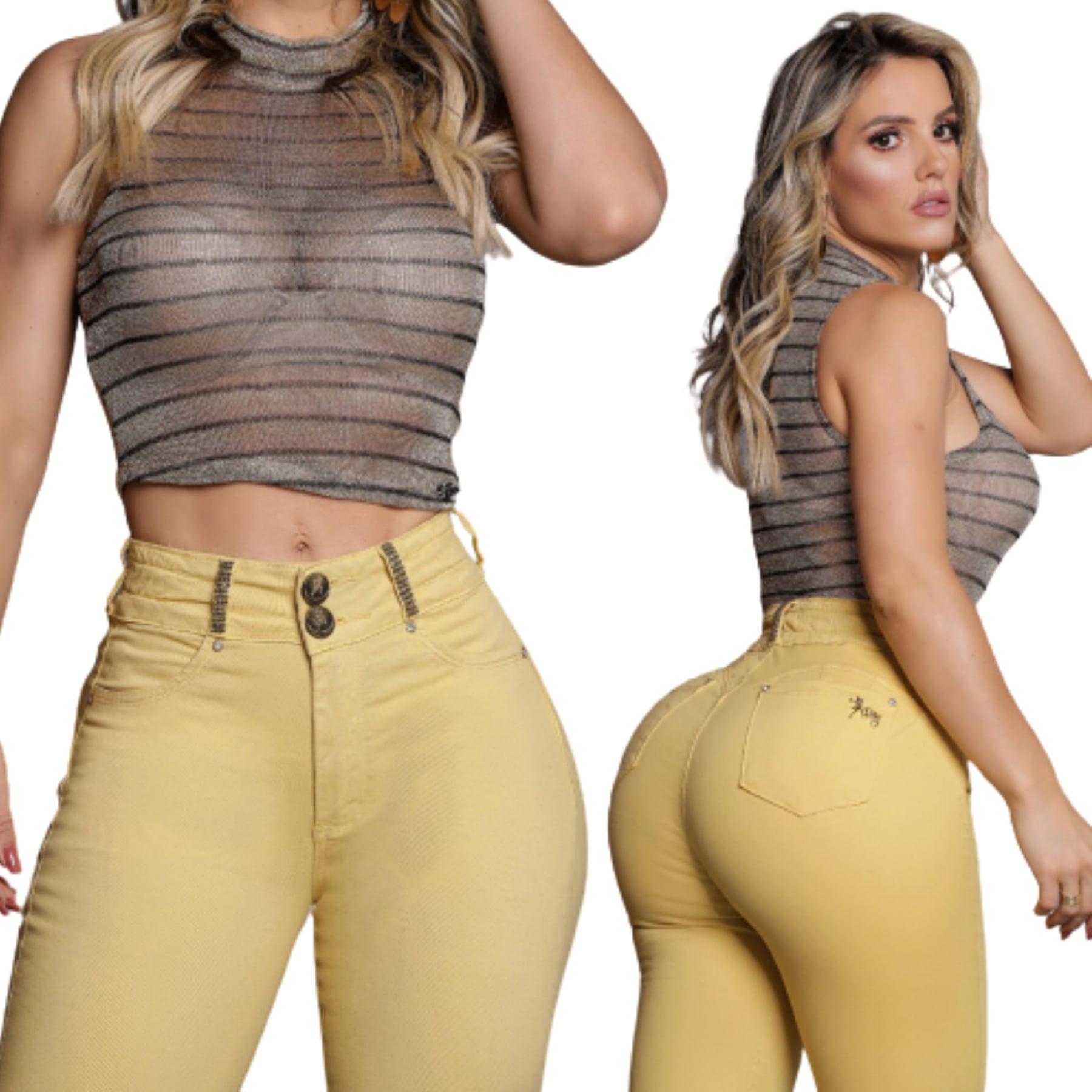 Calça Jeans Feminina Collor Com Strass Amarelo Rhero Jeans ref 56212
