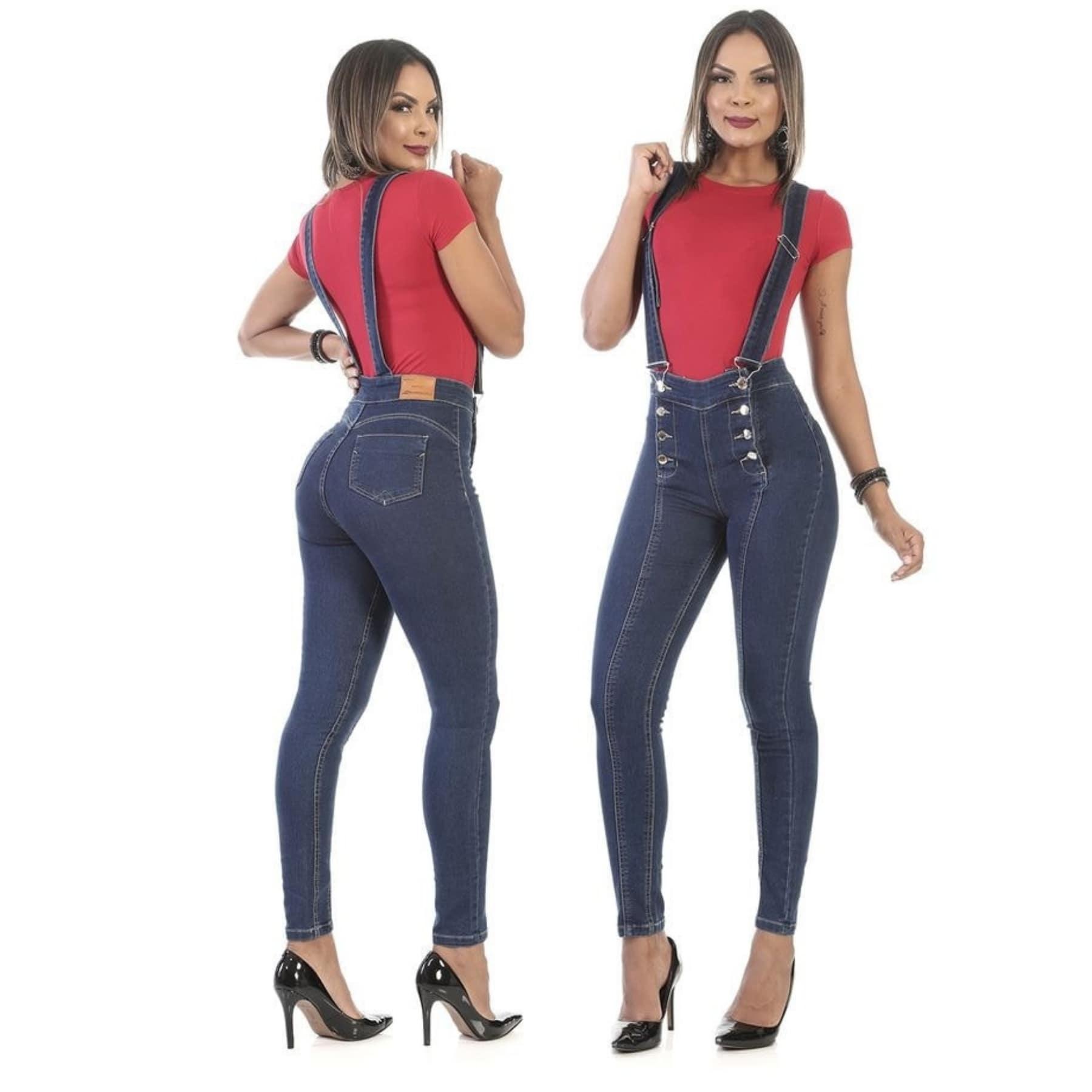 Calça Jeans Feminina Com Suspensório Sawary