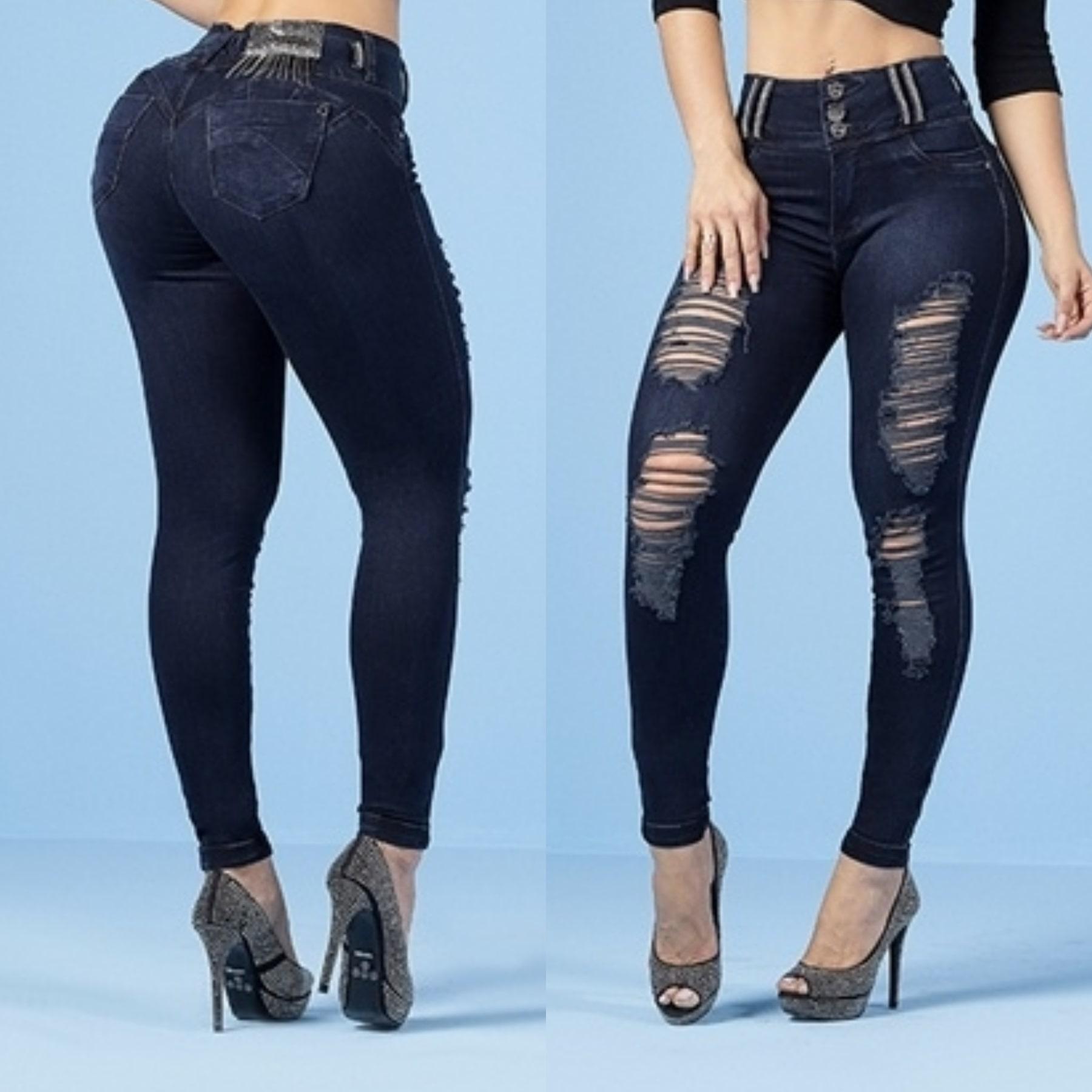 Calça Jeans Feminina Destroyerd Escuro Rhero Jeans