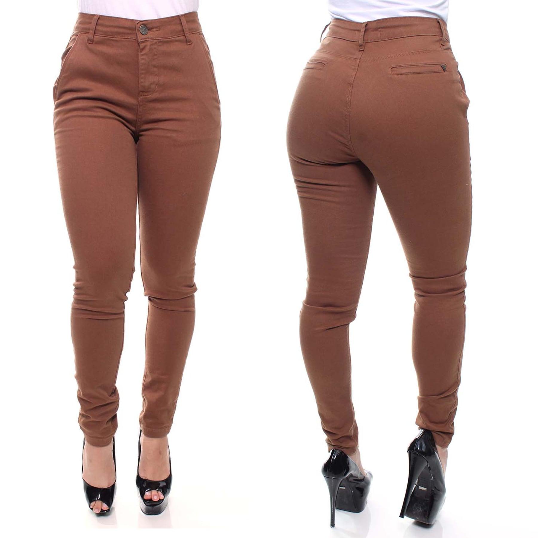 Calça Jeans Feminina Esporte Fino Cor Marrom Crocker