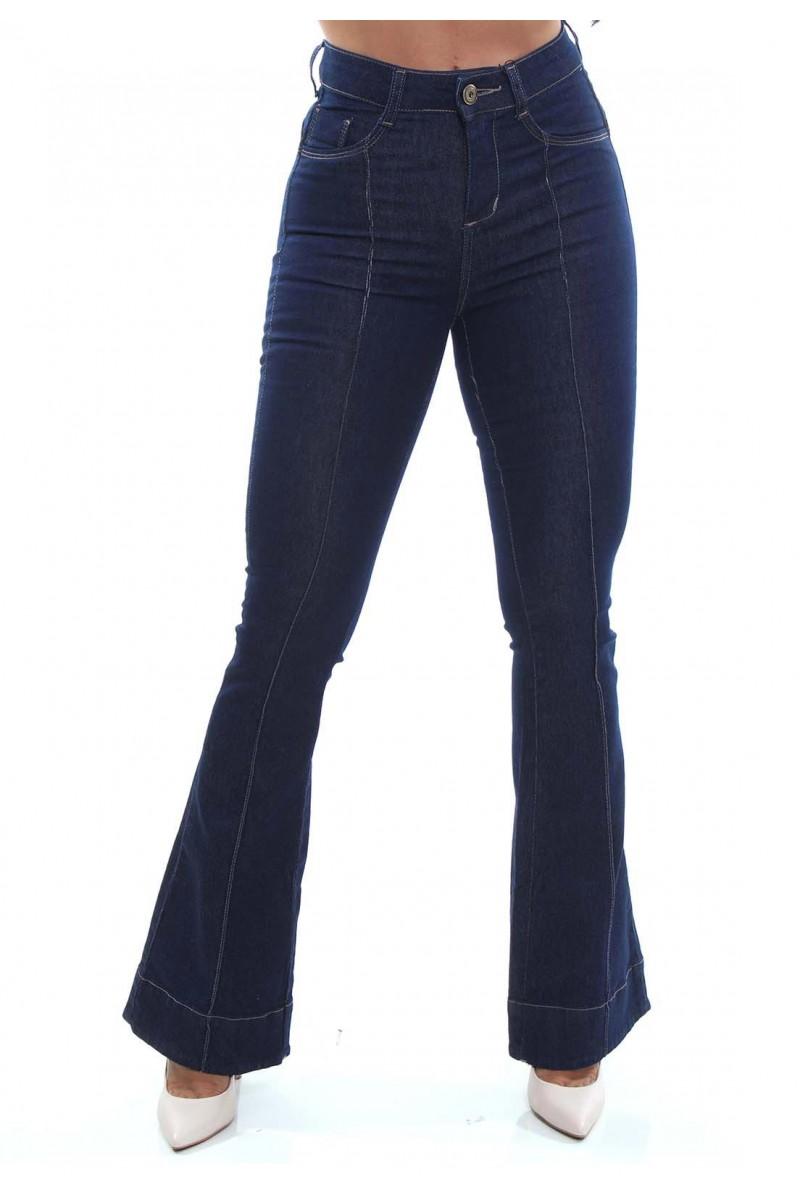 Calça Jeans Feminina Flare Cor Jeans Escuro
