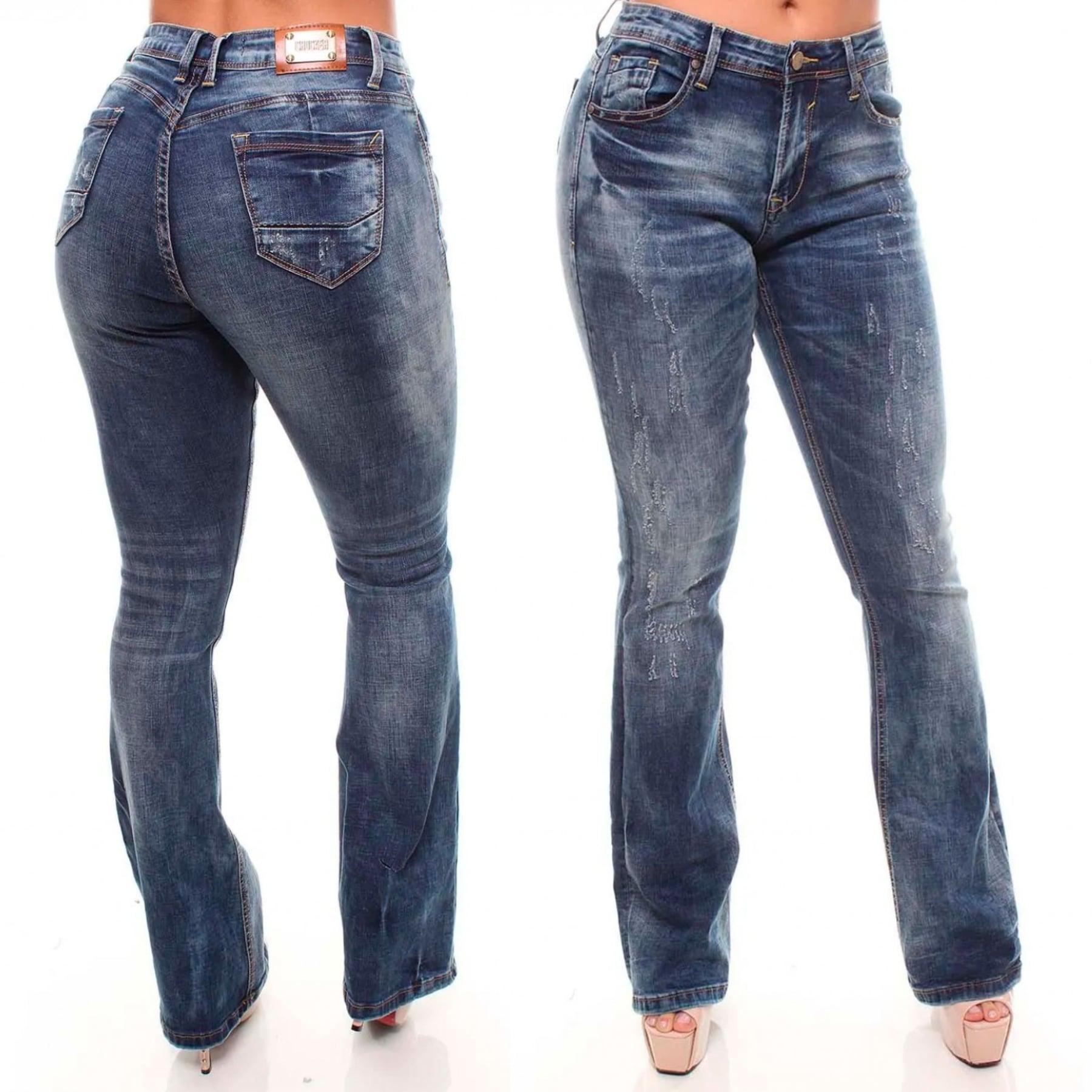 Calça Jeans Feminina Flare Cor Jeans Escuro Crocker