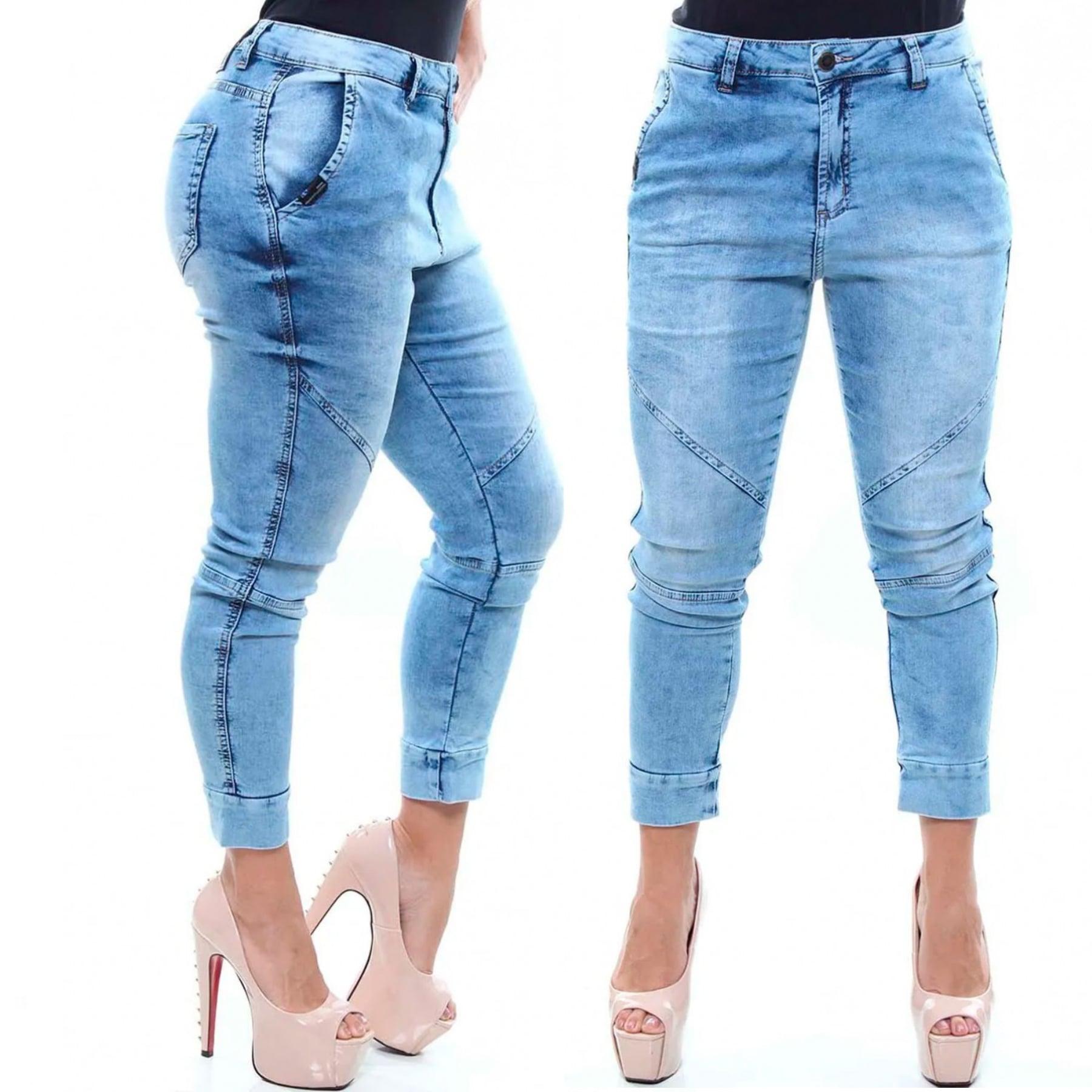 Calça Jeans Feminina Jogger Cor Jeans Claro Crocker