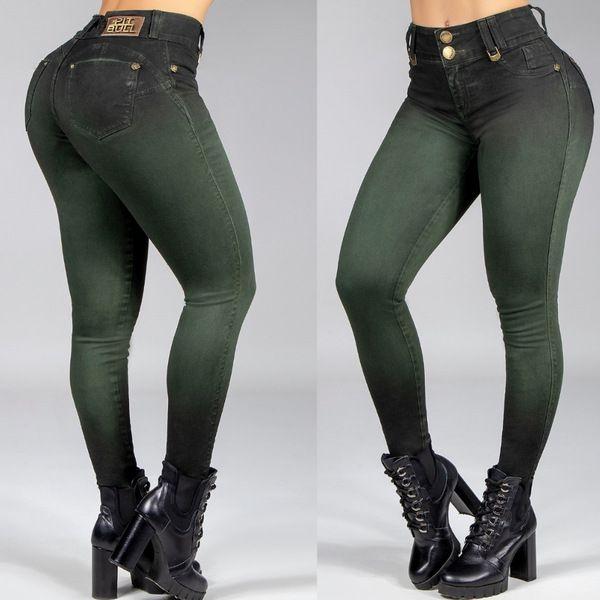 Calça Jeans Feminina Skinny Pitbulljeans Verde Militar