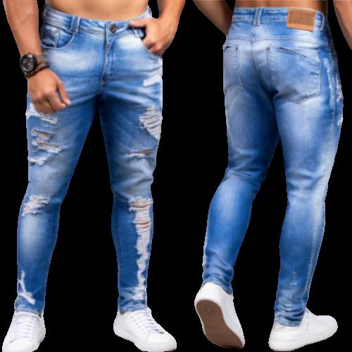 Calça Jeans Masculina Modelo Skinny Destroyed Pit Bull Jeans