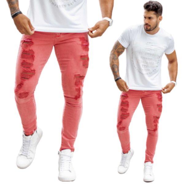 Calça Jeans Masculina Modelo Skinny Estonada Cor Vermelha