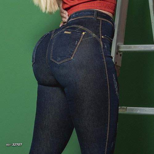 Calça jeans skinny empina bumbum com puídos Pit Bull Jeans Ref 32707