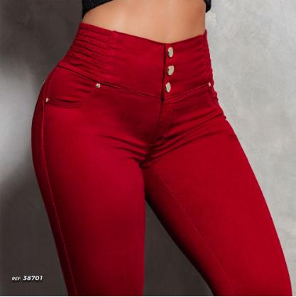 Calça Jeans Skinny Modeladora Vermelha Pit Bull Jeans