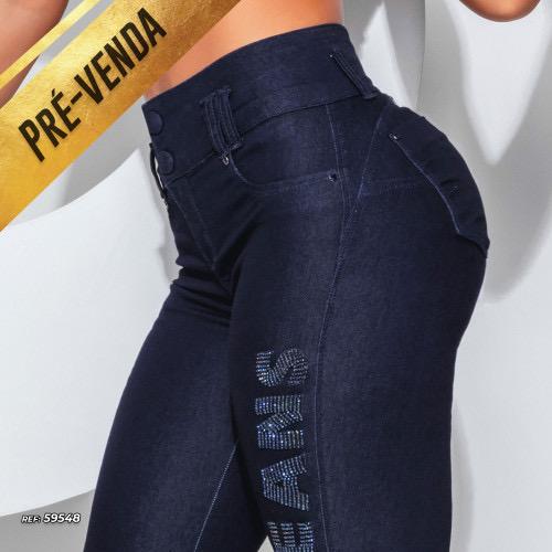 Calça skinny modeladora com logomania Pit Bull Jeans Ref 59548