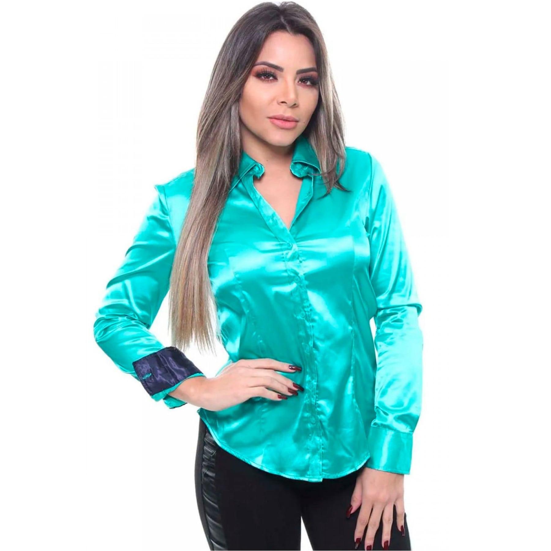 Camisa Feminina De Cetim Manga Longa Cor Verde Agua
