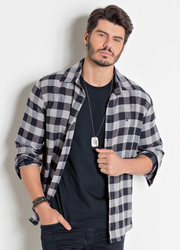 Camisa Masculina Em Flanela Xadrez Cor Cinza