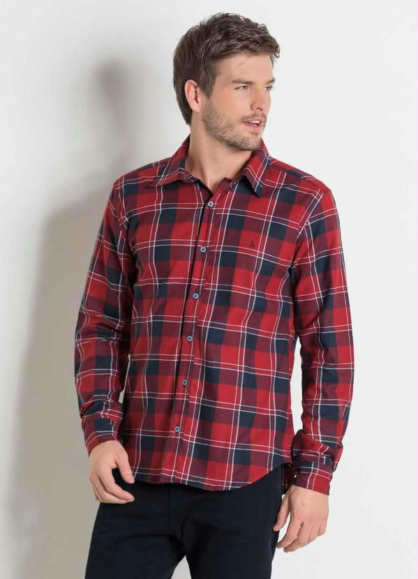 Camisa Masculina Em Flanela Xadrez Cor Vermelho