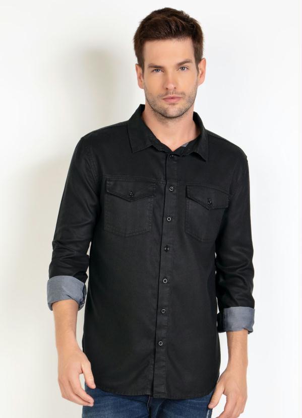 Camisa Masculina Em Sarja Com Bolso Cor Preto